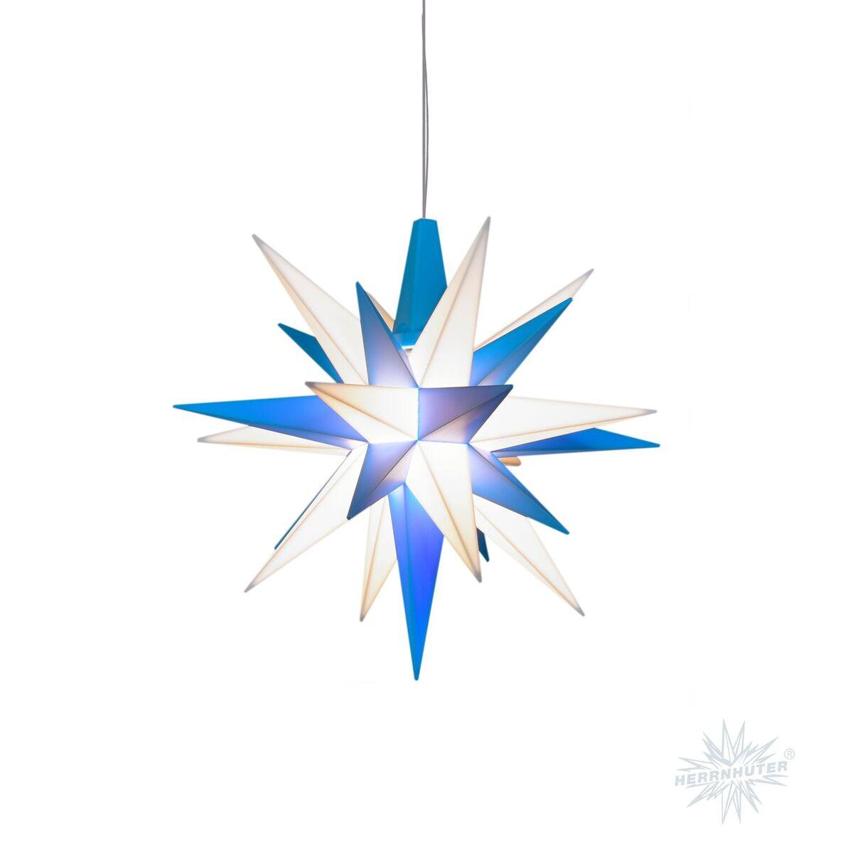 Herrnhuter Stern 13 cm blau-weiß Dekostern, Weihnachtsstern ...